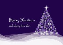 Merry Christmas Greeting Card Postcard Christmas Tree Made From Various White Snowflakes, Stars And Bright Lights On Wavy Hills On Violet Background. Vector EPS 10 Illustration For Holiday Designs