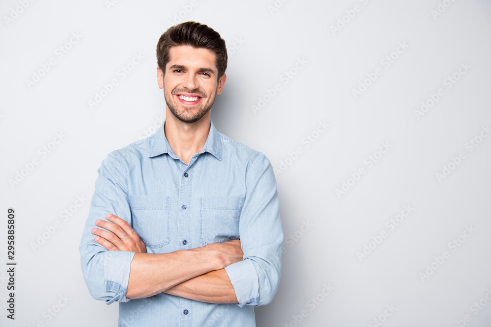 Fototapeta Portrait of positive cheerful reliable freelancer feel success in university college education learning real expert wear casual style clothes isolated over grey color background