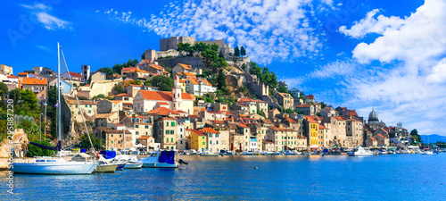 Leinwand Poster  Beautiful places of Croatia - magnifiicent medieval coastal town  Sibenik in Dal