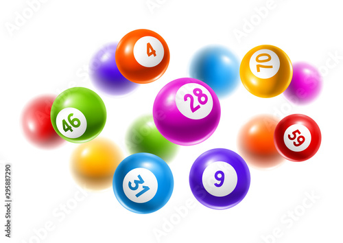 Bingo or lottery colored number balls. Canvas Print
