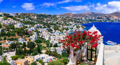Wonderful traditional Greece - beautiful Leros island in Dodekanese. View of Agia Marina village