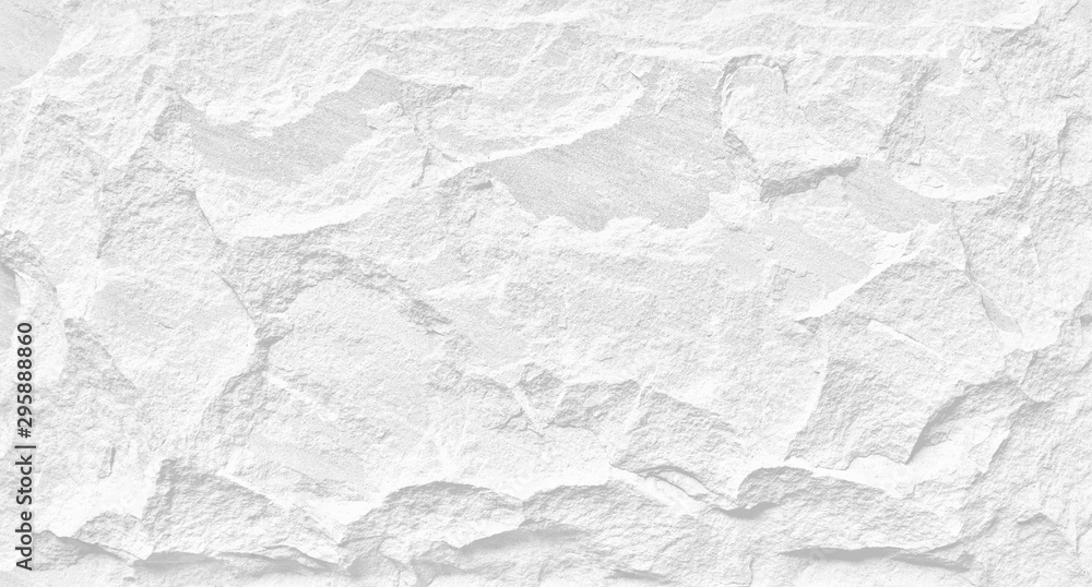 Fototapeta White stone grunge background, rough rock wall texture