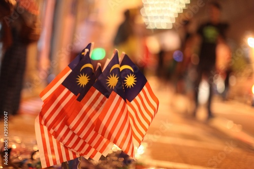 Fotomural Selective focused shot of small Malaysian flags next to each other