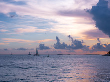 Key West Sunset, Gulf Of Mexico With Yachts And Boats On The Background