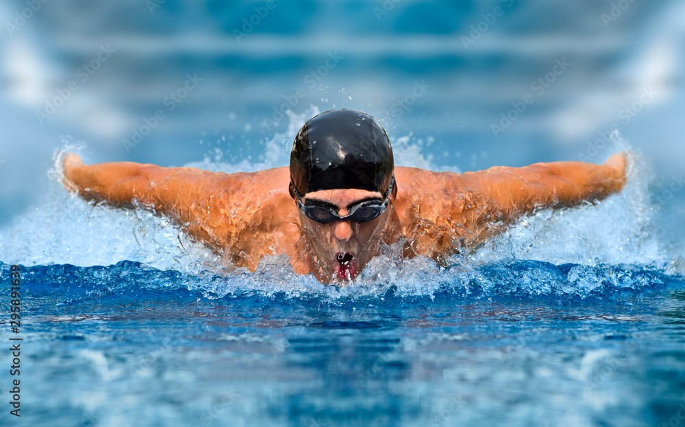 Fototapety, obrazy: Man in swimming pool. Butterfly style