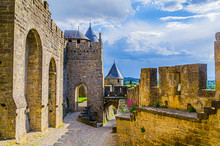 Typical Landscape Of A Sunset In The French Countryside. Carcassonne France.