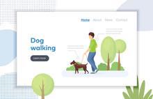 Guy Walk A Dog On A Leash Vector
