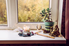 Asian Money Tree Crassula Ovata Growing On Window Sill In Home Feng Shui Wealth And Prosperity Invitation Altar. With Smoking Incense Stick, Laughing Golden Buddha And Crystal Clusters.