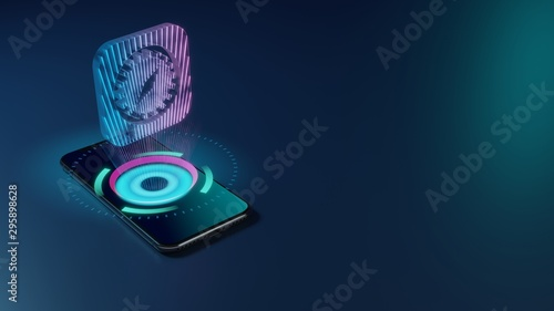 3D rendering neon holographic phone symbol of safari icon on dark background