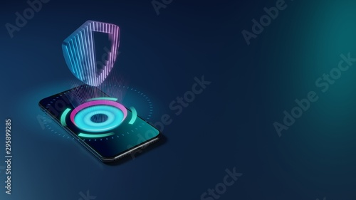 3D rendering neon holographic phone symbol of shield  icon on dark background Fototapete