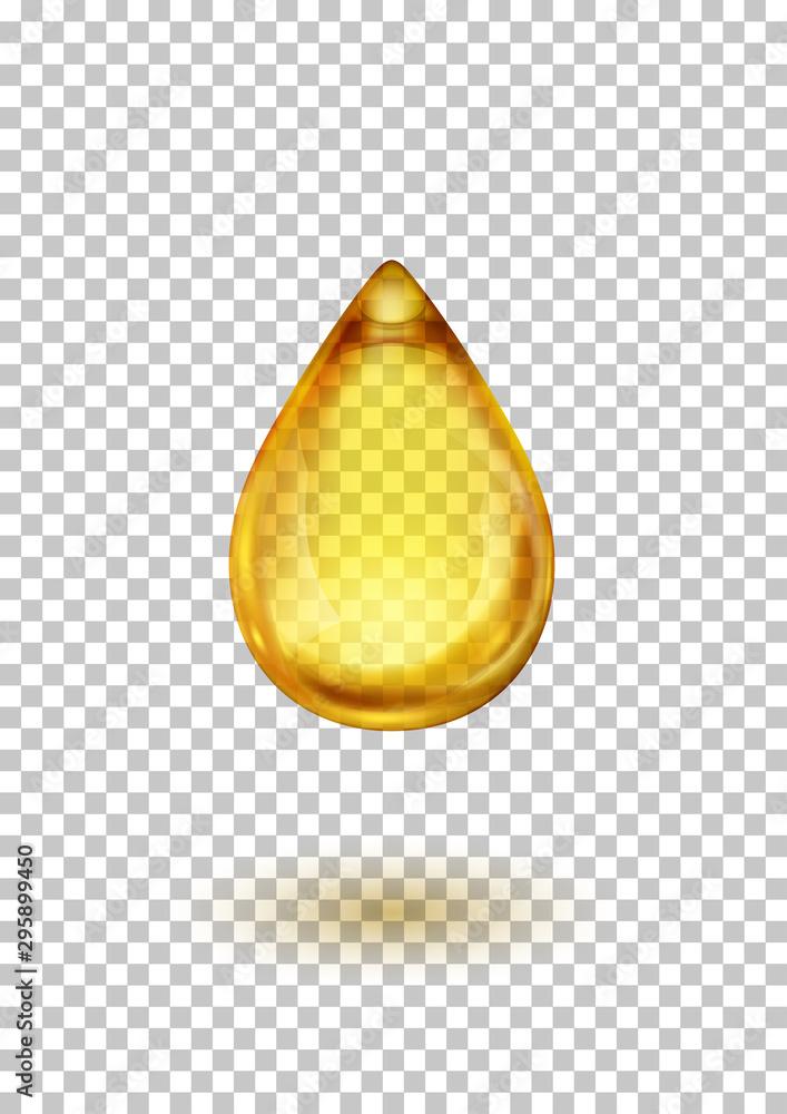 Fototapeta Drop of Oil or Honey on Transparent Background