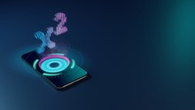 3D Rendering Neon Holographic Phone Symbol Of Superscript Icon On Dark Background