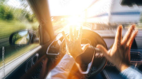 fototapeta na ścianę Car accident on a highway - POV - first person view shot from car interior