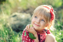 Cute Little Girl With A Apple ...