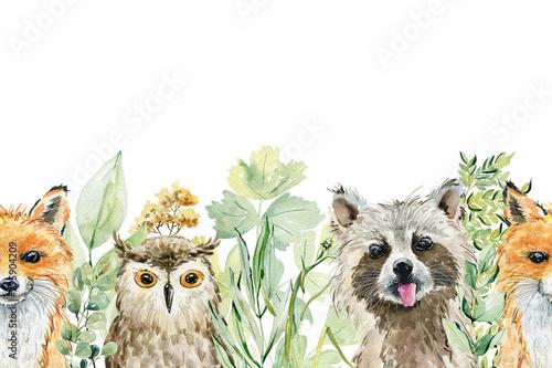 Fototapeten Künstlich Animals watercolor illustration