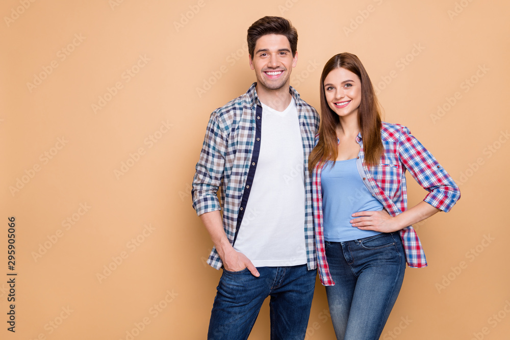 Fototapety, obrazy: Portrait of his he her she nice attractive charming lovely romantic cheerful cheery couple wearing checked shirt embracing spending holiday isolated over beige pastel color background