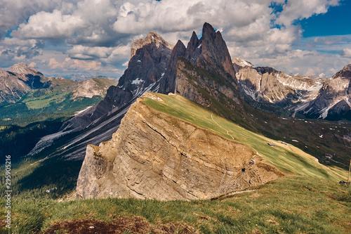 The landscape around the top of Seceda peak, Dolomites, Italy Canvas Print