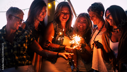 Friends celebrating together with love and friendship concept - group of females Wallpaper Mural