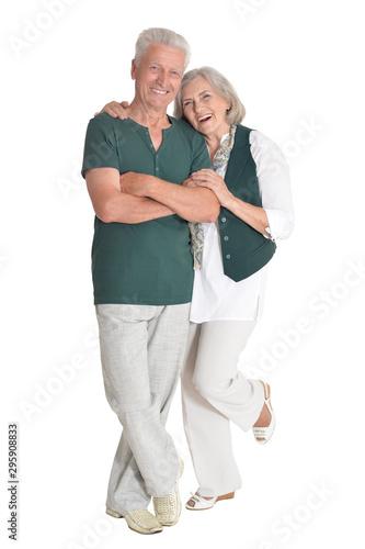 portrait of happy senior couple embracing isolated