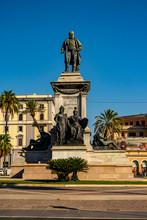 View On The Statue Dedicated To Camillo Cavour In Rome, Lazio - Italy