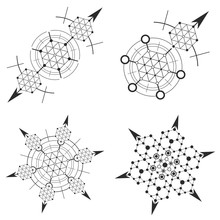 Set Of Abstract Mystical Geometry Signs.