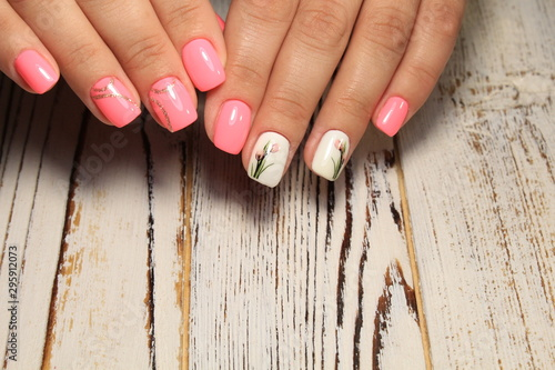 Fotomural  fashion manicure design on a beautiful texture