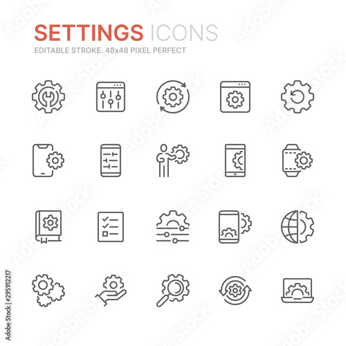 Photo Collection of setting and options related line icons
