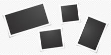 Set Of Blank Photo Polaroid Frames, Isolated On Transparent Background.