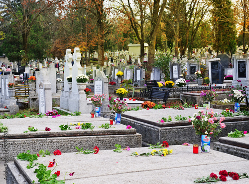 Printed kitchen splashbacks Cemetery People bring flowers and candles to the cemetery on All Saints Day to honor the memory of departed relatives in Cluj-Napoca, Romania.