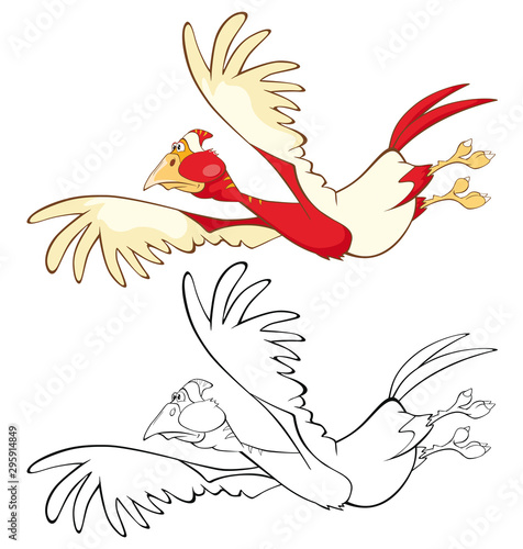 Fotobehang Babykamer Vector Illustration of a Cute Cartoon Character Bird for you Design and Computer Game. Coloring Book Outline
