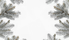 Creative Frame Made Of Christmas Fir Branches On White Background. Xmas And New Year Greeting Card, Winter Holiday. Flat Lay, Top View, Harsh Shadow