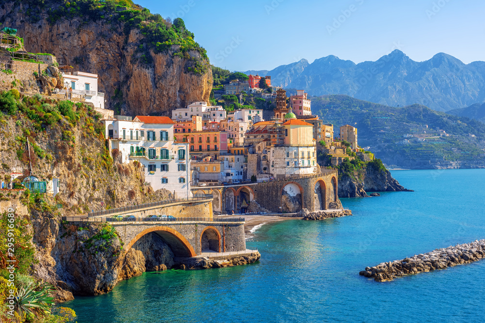 Fototapeta Atrani town on Amalfi coast, Sorrento, Italy
