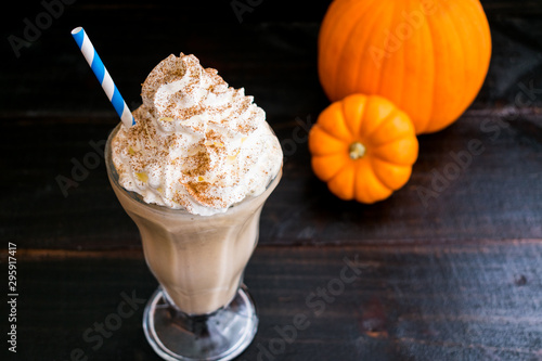 Pumpkin Caramel Milkshake Topped with Whipped Cream