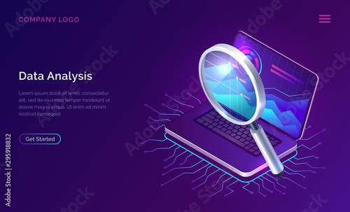 Pinturas sobre lienzo  Data analysis, search engine optimization or SEO isometric concept vector illustration