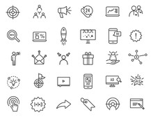 Set Of Linear Advertising Icon...