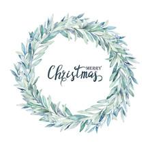 Watercolor Christmas Wreath. W...