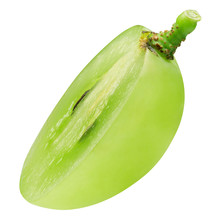 Half Of Single Green Grape Isolated On A White Background