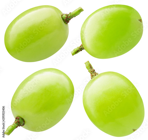 collection of single green grape isolated on a white background Fototapete