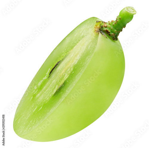 half of single green grape isolated on a white background Fototapete