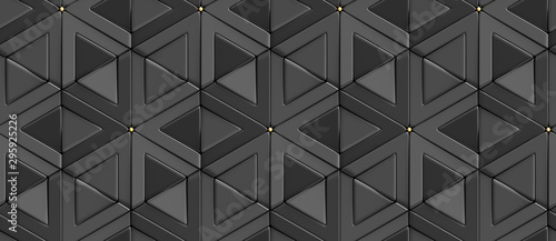 Wallpaper of 3D tiles black rhombuses and triangles with gold decor elements. High quality seamless realistic texture.
