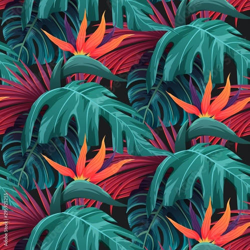 Fényképezés Bright tropical seamless pattern with jungle plants