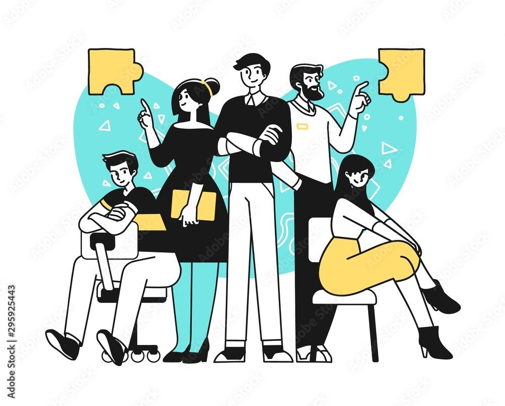 Fototapeta Portrait of creative confident business team standing together. Succesfull Team concept illustration. Modern outline style