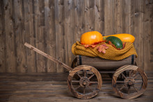Wooden Cart With Pumpkin And Z...