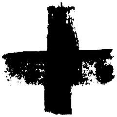 A black cross is hand-drawn...