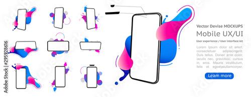 Fototapeta Set 3d smartphone mockup with a white background. Template for infographics or presentation UI design interface. Vector illustrator obraz