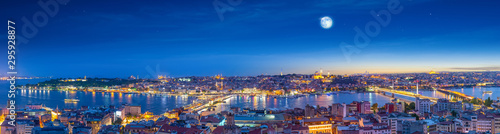 Istanbul and Bosporus at night, Panorama, Turkey. Canvas Print