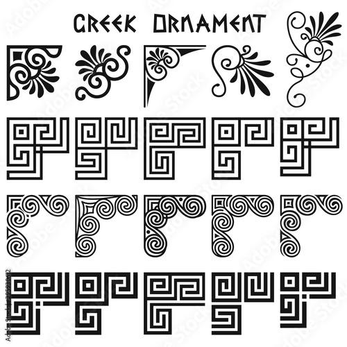 Cuadros en Lienzo Vector set of corner design elements in greek style