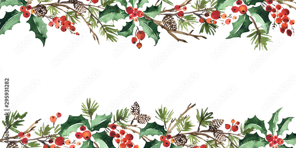Fototapeta Christmas watercolor horizontal arranging with holly berries, spruce and pine cones
