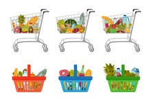 Set Of Grocery Food Baskets And Shopping Carts With Different Goods Such As Fruits And Vegetables, Meat And Fish, Milk And Bread