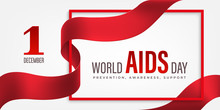 World Aids Day Horizontal Banner With Red Ribbon And Flower